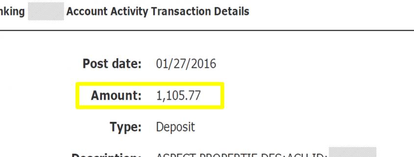 הפקדת כסף בבנק מהשכרת בתים בארצות הברית